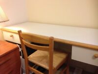 Desk and chair with white veneer, and solid oak.