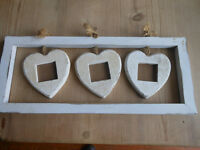 LOVELY SHABBY CHIC WALL HANGING HEART PHOTO FRAME