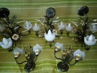 Vintage Italian Gilt Metal Sheaf Of Wheat and Flowers set of 5 Chandelier, 1960s