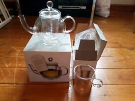 M&S glass teapot and 2 glass mugs