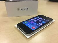 Boxed Black Apple iPhone 4 16GB On O2 / GiffGaff / Tesco Networks + Warranty