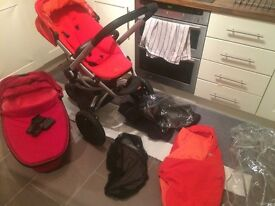 QUINNY BUZZ RED REVOLUTION, CARRYCOT RED RUMOUR