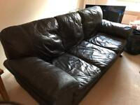 FREE DELIVERY CHOCOLATE BROWN LEATHER 3 SEATER SOFA