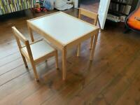 Children's Table and with two chairs, pine/white