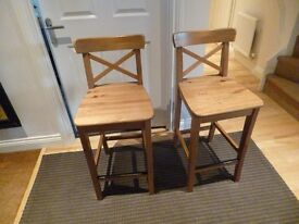 Ikea Ingolf pair of solid pine kitchen bar stools