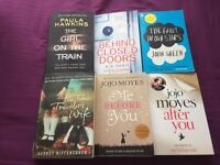 6 Romance/Thriller books - the girl on the train, behind closed doors, the fault in our stars etc