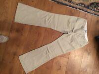 Boden beige linen wide leg trousers size 12L, excellent condition, barely worn, machine washable