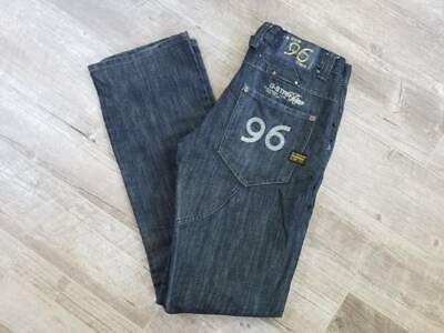 G-Star 96 Womens Straight Leg Jeans Blue Dark Wash Pocket Denim Pants 32