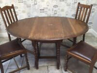 Oak gate leg dining table (no chairs)