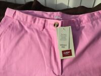 Pink summer trousers brand new tagged size 14