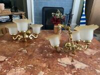 2 x Antique brass 3 frosted glass shade chandelier