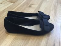 Carvela Kurt Geiger Black 'Matilda' Leather Suede flat court show with satin bow