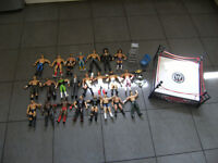 WWE RING AND 23 WRESTING FIGURES