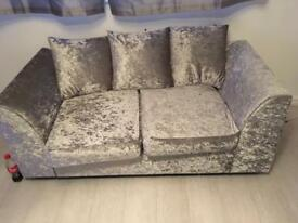 silver velvet 3&2 with footstool