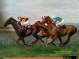 racehorse painting signed
