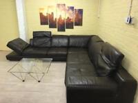 Elegant Brown Leather Corner Sofa