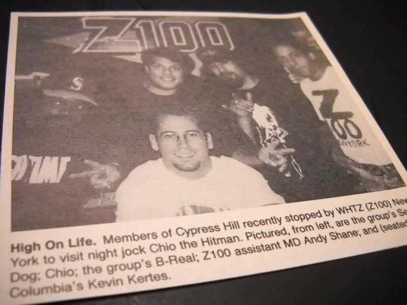 CYPRESS HILL at WHTZ z100 in New York 1993 original music biz promo pic w/ text