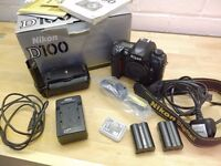 Nikon D100 Digital SLR with original packaging and extras