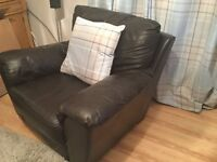 Two seater leather sofa plus leather armchair