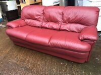 Real leather sofa 3 Seater pre-owned very comfy