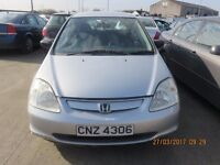 2002 HONDA CIVIC, 1.4 PETROL, BREAKING PARTS ONLY, POSTAGE AVAILABLE NATIONWIDE