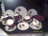 TEA SET with TEAPOT, CUPS, SAUCERS, PLATES ,DISHES & BOWL . plus JUG & SUGAR DISH +++