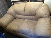 3 Piece Cream Leather Suite