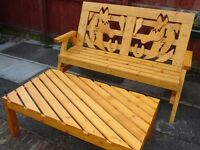 Horse Bench +FREE ***Coffee table*** (Products are Hand Made Quality )