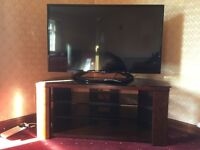 New TV stand wood and black glass