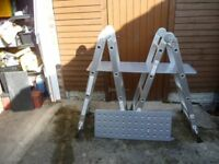 15 way multi position Ladder with platforms as new.