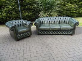 Chesterfield Leather 3+1 Buttoned-Suite (Vintage Green)