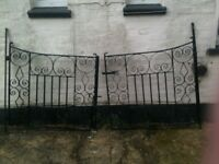 make and offer-SET OF VINTAGE WROUGHT IRON DRIVE GATES- NEWLY PAINTED