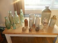 collection of mixed stoneware and old glass bottles