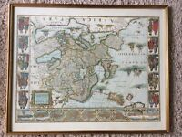 Pair of vintage antique map prints professionally framed