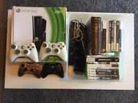 Xbox 360 + 4 Controllers + Charging Pack + Kinect + 18 Games