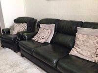 Leather 3 Piece Suite and Leather Footstool