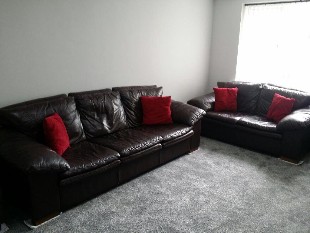 Brown leather sofas 3 and 2 seater with