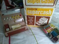 Vintage Casdon toy till with packages 1960's