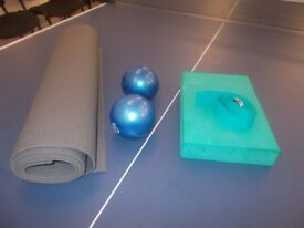 Yoga Equipment for sale, Mats, Balls, Weights and belts, many of which not been used!