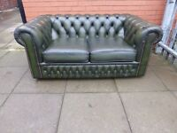 A Green Leather Chesterfield Two Seater Sofa Settee