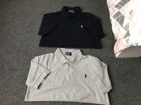 Men's Ralph Lauren polo shirts both size medium grey one never worn! Navy one worn once £20!!