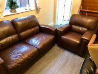 2 and 1 seater (Brown leather Sofa) in excellent condition