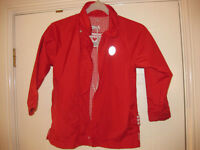 BEAUTIFUL RED RAIN JACKET - with hood & grippy sleeves! AGE 4-5 Lovely Condition Perfect for spring