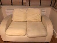 Free Cream cotton two-man sofa