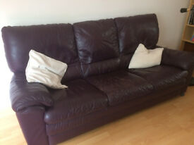 3 seat Natuzzi aubergine leather sofa