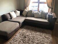 Corner sofa suite and swivel snuggle chair