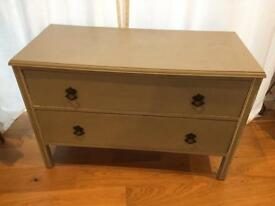 Wooden two drawer chest in grey