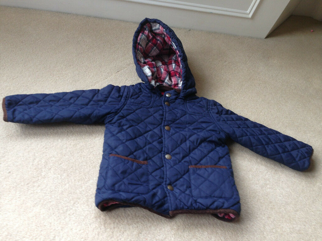 John Lewis navy quilted jacket with tartan lining age 18-24 months