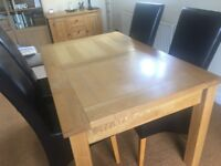 Oak Dining Table and 4 brown chairs