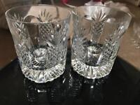2 crystal cut glass
